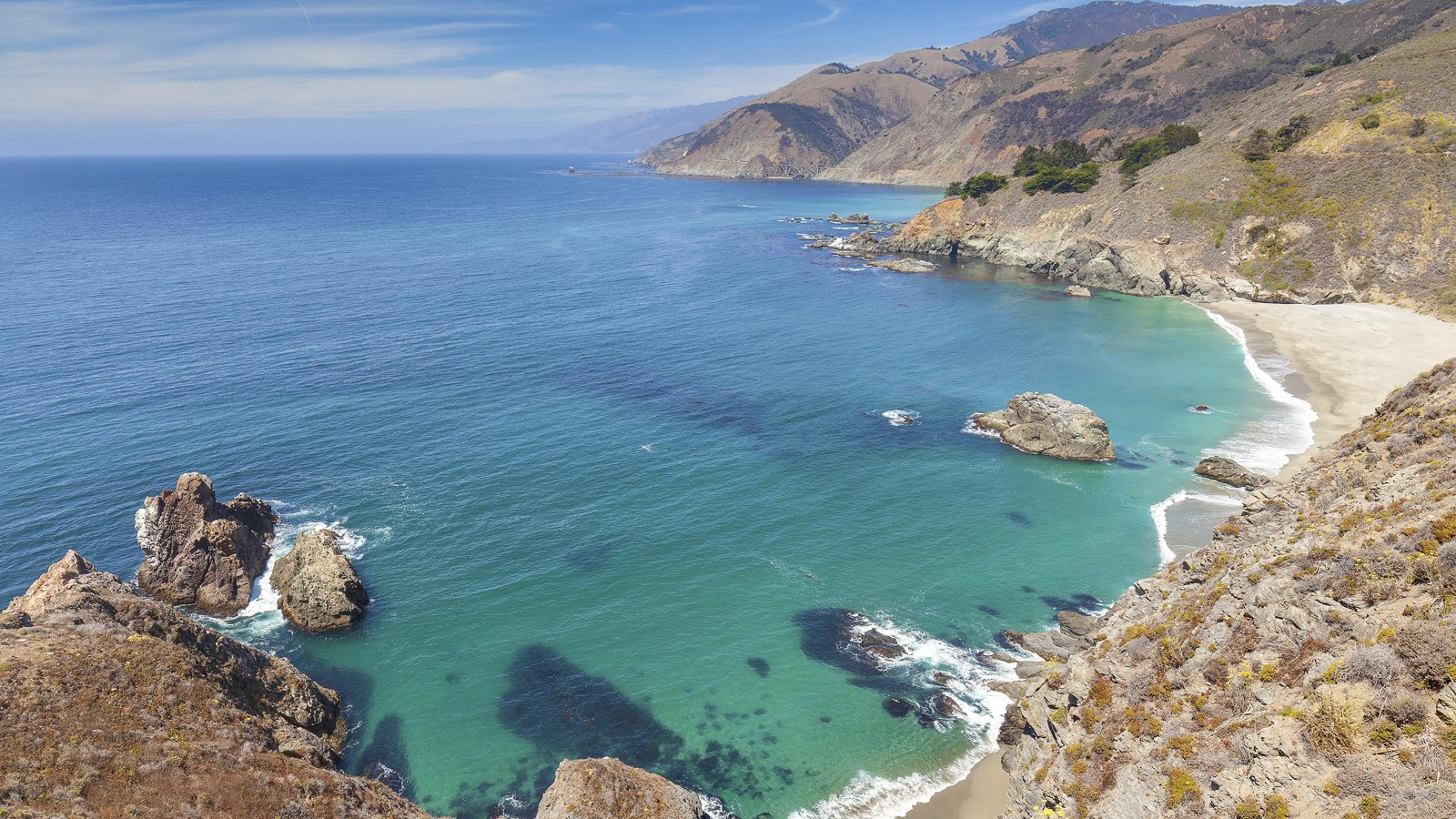 View of the California coastline along Pacific Coast Highway, US