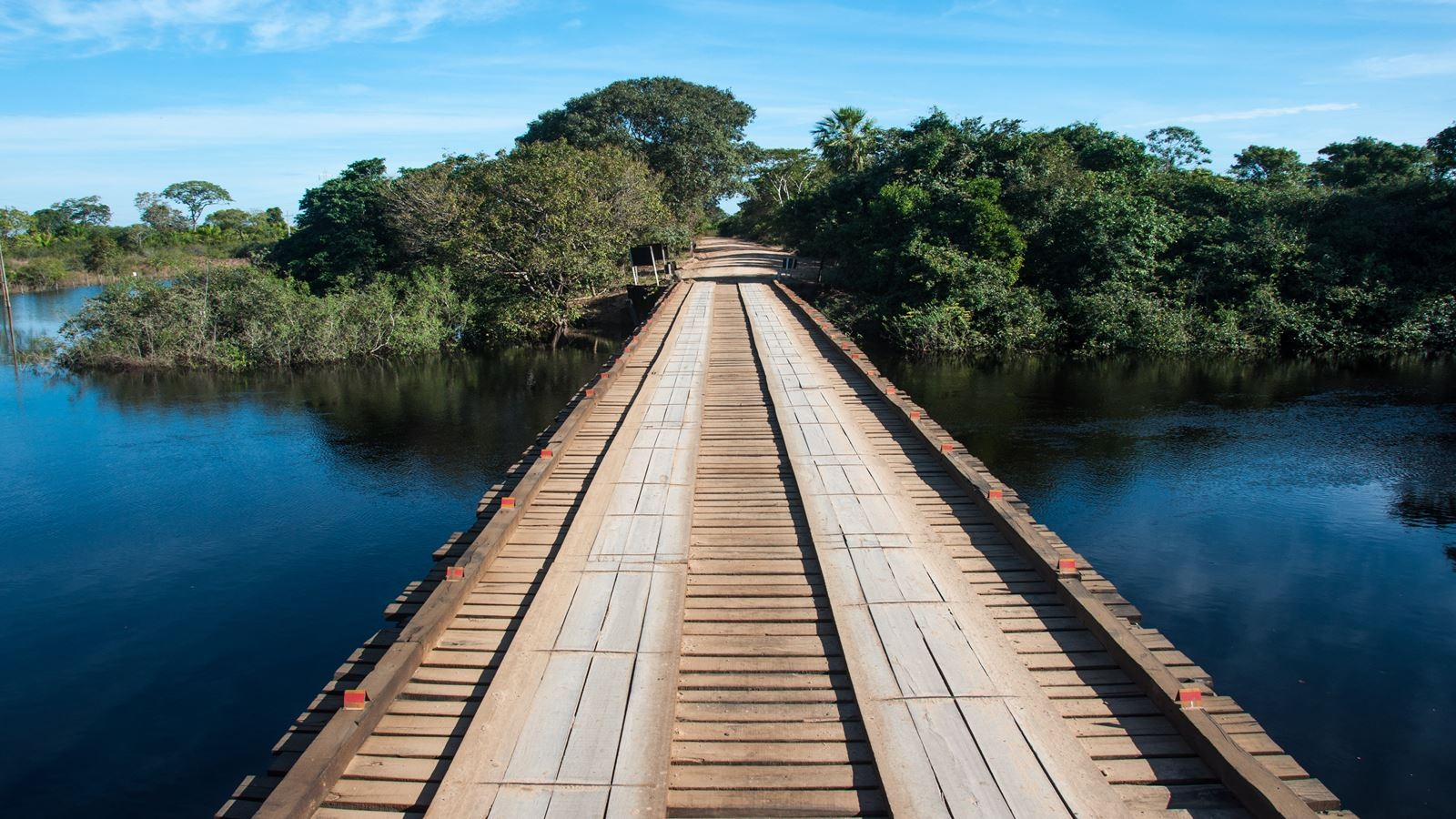 Wooden bridge in the wet lands of Pantanal, Brazil.