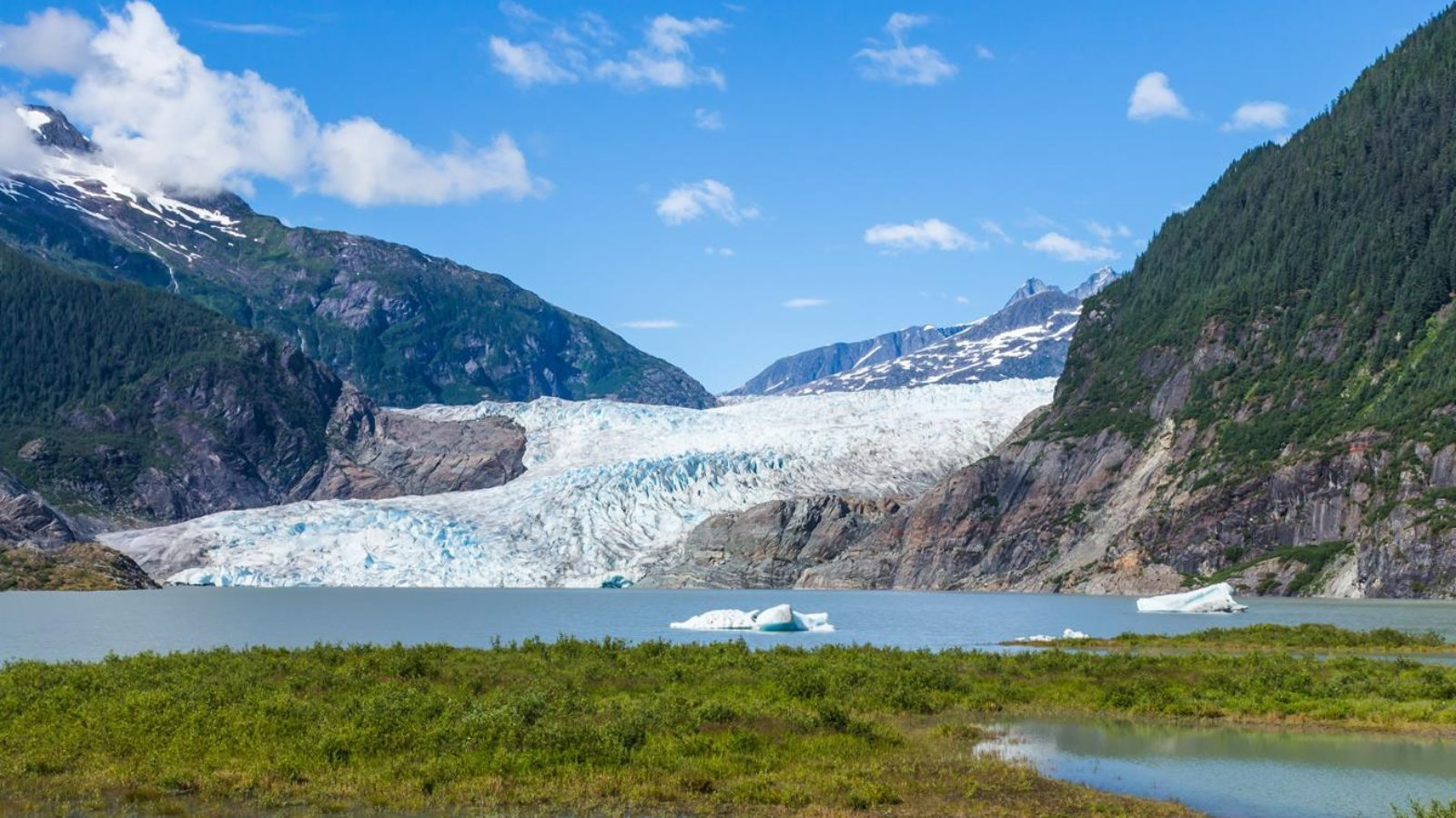 Mendenhall Glacier and Lake in Juneau, Alaska, USA in summer