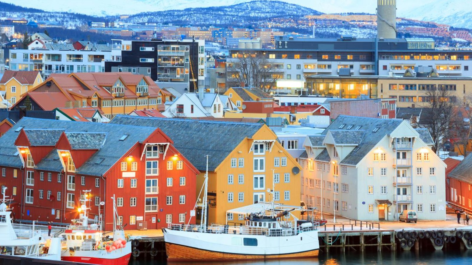 Aerial view of Tromso Cityscape at dusk Norway